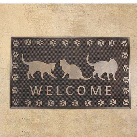 SPICE/RUBBER MAT RECT WELCOME CAT(45×75cm)/FBGY4030【01】